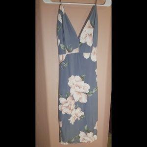 Fashion Nova Gray Backless Dress